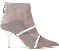 Madison Metallic-trimmed Leather And Suede Ankle Boots