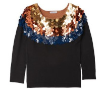 Sequin-embellished wool sweater