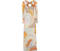Cutout Embellished Printed Stretch-jersey Maxi Dress