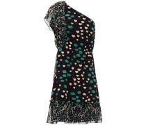 One-shoulder Paneled Printed Silk-chiffon Mini Dress