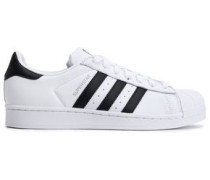 Woman Superstar Paneled Leather Sneakers White