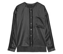 Fringe-trimmed Pinstriped Silk-satin Shirt