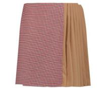 Crepe paneled tweed mini skirt