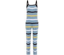 Gerippter Jumpsuit aus Einer Baumwollmischung mit Streifen