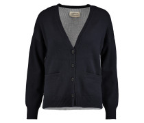 The Color Block Wool And Cotton-blend Cardigan Navy