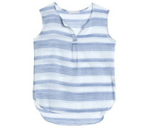 Striped cotton-gauze top