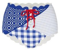 Wainscott Bikini-höschen aus Stretch-crêpe mit Gingham-karo, Schnürung und Muschelsaum