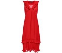 Ruffle-trimmed Pleated Crepe Midi Dress