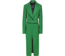 Belted wool-twill coat