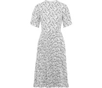 Pleated Floral-print Crepe De Chine Dress