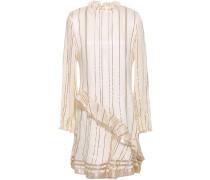 Ruffled Metallic Striped Silk-blend Mini Dress