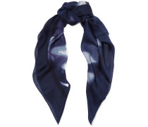 Printed Silk Scarf Mitternachtsblau