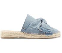 Lynda bow-embellished leather espadrille slippers