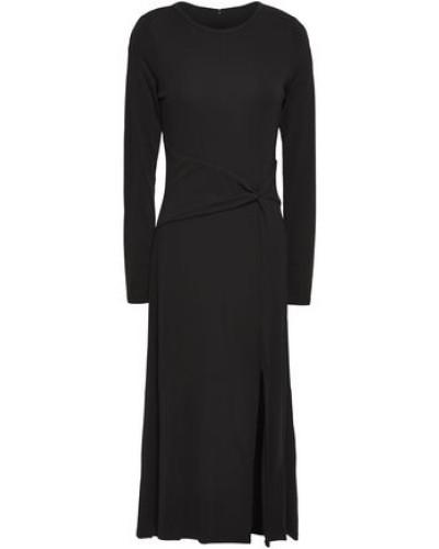 Woman Split-front Twisted Jersey Midi Dress Black