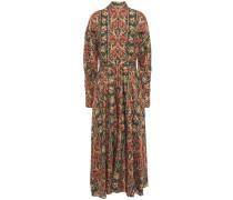 Apollina Printed Silk And Wool-blend Twill Midi Dress