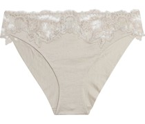 Metallic Embroidered Tulle-trimmed Cotton-jersey Low-rise Briefs