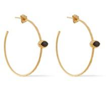 18-karat Gold-plated Sterling Silver Labradorite Hoop Earrings