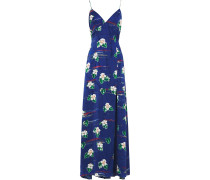 Elvira Open-back Floral-print Satin-jacquard Maxi Dress