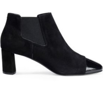 Patent leather-trimmed suede ankle boots