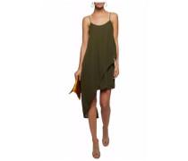 Asymmetric layered silk-crepe mini dress