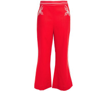 Embroidered Linen Flared Pants