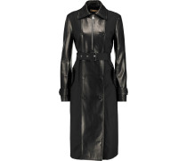 Leather-paneled Stretch-cotton Trench Coat Schwarz