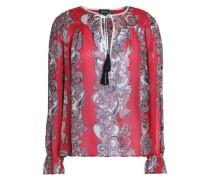 Tasselled printed chiffon blouse