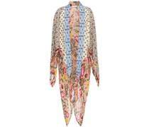 Lia Asymmetrischer Kimono aus Bedrucktem Crêpe De Chine und Chiffon in Patchwork-optik