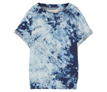 The Rolled Sleeve Tie-dyed Cotton-terry Sweatshirt Indigo