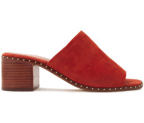 Woman Studded Suede Mules Brick