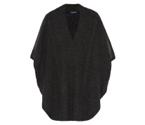 Sierra Faux Leather-trimmed Cable-knit Poncho Schiefer