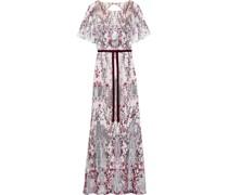 Velvet-trimmed Cutout Embellished Tulle Gown