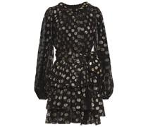 Polka-dot Metallic Fil Coupé Silk-blend Mini Dress