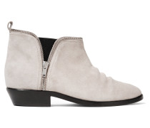 India Embroidered Suede Ankle Boots Stein