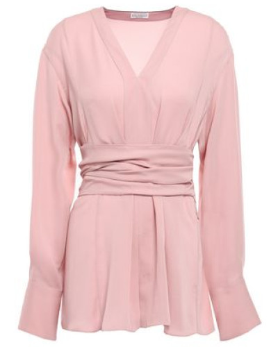 Tie-back Silk Crepe De Chine Blouse Baby Pink