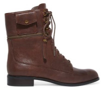 Lace-up zip-detailed leather aknle boots