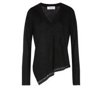 Asymmetric Embellished Silk And Cashmere-blend Sweater Schwarz