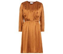 Gerafftes Kleid aus Glänzendem Crêpe mit Wickeleffekt
