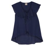 Ruffled Silk Blouse Mitternachtsblau
