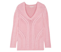 Mafieux Cable-knit Cotton-blend Sweater Babypink