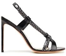 Sandalen aus Leder mit Schlangeneffekt