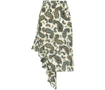 Asymmetric Ruffled Printed Silk Crepe De Chine Mini Skirt