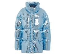Vent Appliquéd Mesh-paneled Foiled Shell Down Jacket
