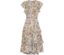 Sully Tiered Belted Floral-print Georgette Dress