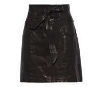 Callie Belted Textured-leather Mini Skirt