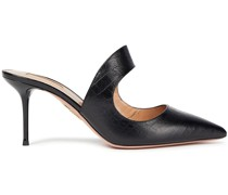 Forever 75 Cutout Croc-effect Leather Mules