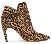 Florie Crystal-trimmed Leopard-print Calf Hair Ankle Boots