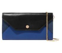Color-block Leather And Suede Clutch Königsblau