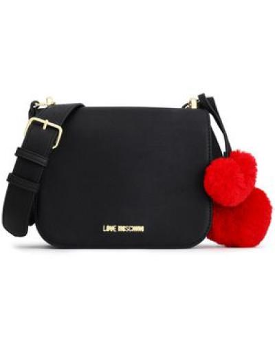 Pompom-embellished Faux Leather Shoulder Bag Black Size --