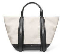 Hybrid cotton and leather tote bag